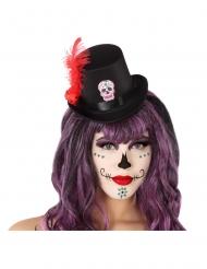 Mini chapeau haut de forme noir Dia de los Muertos adulte