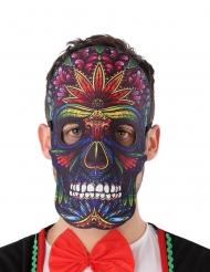 Masque dia de los muertos effet cuir et feutre adulte