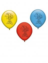 8 Ballons en latex rouge, bleu et jaune Sonic™