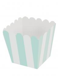 12 Mini boîtes à pop corn en carton rayées blanc et menthe