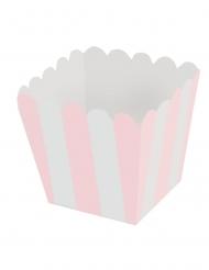 12 Mini boîtes à pop corn en carton rayées blanc et rose pâle 6,5 x 4,5 cm