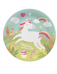 8 Assiettes en carton licorne magique 23 cm