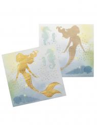 12 Serviettes Sirène Lagune en papier 33 x 33 cm