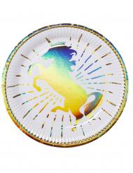 6 Assiettes Licorne Holo en carton 23 cm
