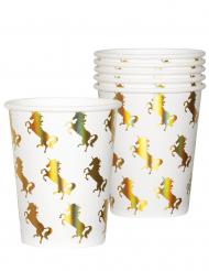 6 Gobelets en carton Licorne Holo 25 cL