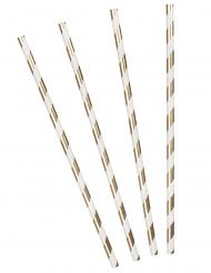 20 Pailles en carton rayées dorées 20 cm