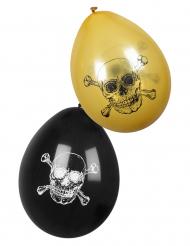 6 Ballons Pirate Jolly Roger noir et doré 25 cm