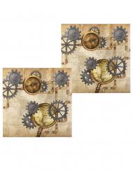 12 Serviettes en papier Steampunk 33 x 33 cm