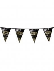 Guirlande 10 fanions Joyeuses Fêtes métallique noire et dorée 4 m