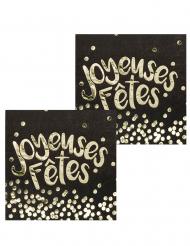12 Serviettes en papier Joyeuses Fêtes noires et dorées 33 x 33 cm