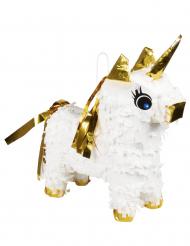Mini piñata licorne blanc et or 21 x 17 cm