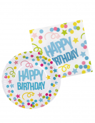 Kit vaisselle 6 personnes Confettis Happy Birthday