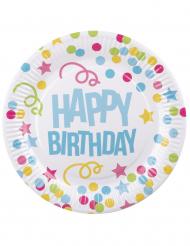 6 Assiettes Confettis Happy Birthday en carton 23cm