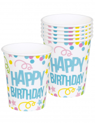 6 Gobelets Confettis Happy Birthday en carton 25cL