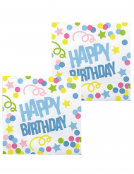 12 Serviettes Confettis Happy Birthday en papier 33 x 33 cm
