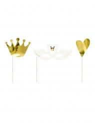 3 Accessoires photobooth lovely swan dorés métallisés