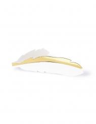 10 Marque-places en carton plumes blanches et dorées métallisées 10,5 x 3 cm