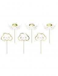 6 Cake toppers en bois nuages et ailes blanches et dorées métallisées 12,5 cm