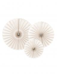 3 Rosaces décoratives en papier beige 26, 34,5 et 43 cm