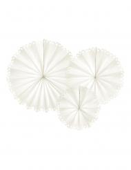 3 Rosaces décoratives en papier dentelle beige 25, 34 et 42,5 cm