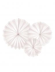 3 Rosaces décoratives en papier dentelle blanches 25, 34 et 42,5 cm