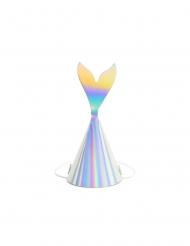 6 Chapeaux de fête queue de sirène holographique 8 x 18 cm