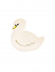 6 Assiettes en carton forme lovely swan 23,5 x 22,5 cm