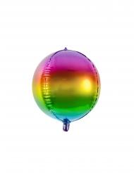 Ballon aluminium rond arc-en-ciel 40 cm