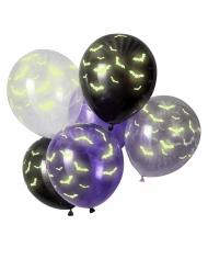 6 Ballons en latex chauve souris phosphorescents 30 cm