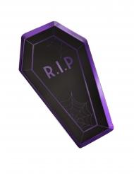 8 Assiettes en carton cercueil noires et mauves 30 x 18 cm