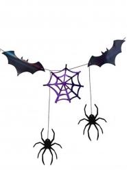 Guirlande en papier toile d'araignée et chauve souris noire et violet 3 m