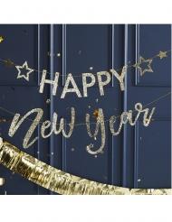 Guirlande en carton happy new year dorée pailletée 1,5 m
