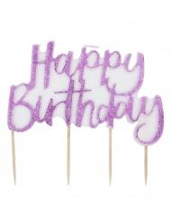 Bougie Happy Birthday rose pailletée 12 cm