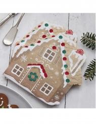 16 Petites serviettes en papier maison de pain d'épice 17 cm