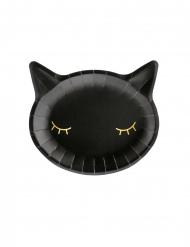 6 Assiettes en carton tête de chat noires et dorées 22 x 20 cm