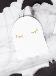 20 Serviettes en papier fantôme blanches et dorées 11 x 14 cm