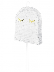 Piñata fantôme blanche et dorée 41,5 x 50 x 10 cm