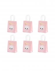 6 Sacs à bonbons boo roses et blancs 14 x 18 x 8 cm
