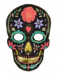 Masque en carton dia de los muertos noir 19 x 28 cm
