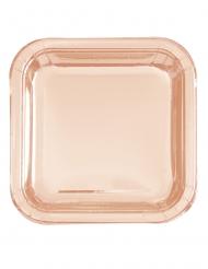 8 Assiettes en carton carrées roses gold métallisées 23 cm