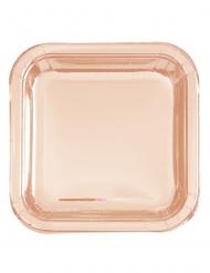 8 Petites assiettes en carton carrées roses gold métallisées 18 cm