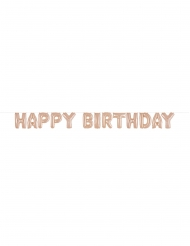 Guirlande de ballons aluminium happy birthday rose gold 35 cm
