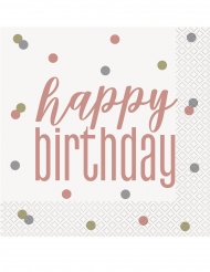 16 Serviettes en papier Happy Birthday blanches et rose gold
