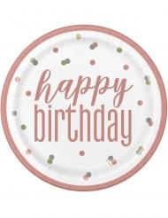 8 Assiettes en carton happy birthday blanches et roses 23 cm