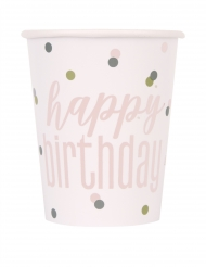 8 Gobelets en carton happy birthday blancs et roses 266 ml