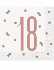 16 Serviettes en papier 18 ans blanches et roses 33 x 33 cm