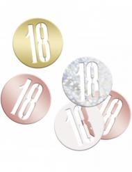 Confettis de table 18 ans multicolores métallisés 14 g