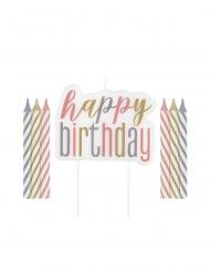 Bougies anniversaire happy birthday pastel