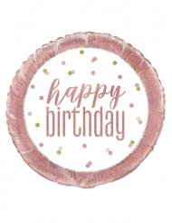 Ballon en aluminium happy birthday blanc et rose 45 cm