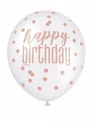6 Ballons en latex happy birthday à pois blancs et roses 30 cm